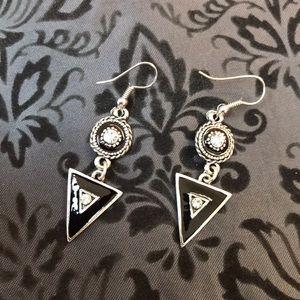 Silver Black Drop Geometric Earrings
